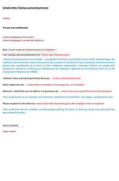 Grievance Letter Sample To Employer from www.jamiesonpartners.co.nz